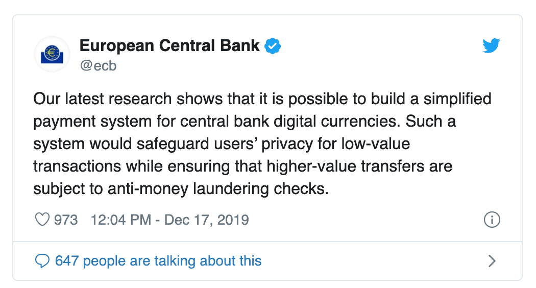 Tweet der EZB zur CBDC (Screenshot @ecb)
