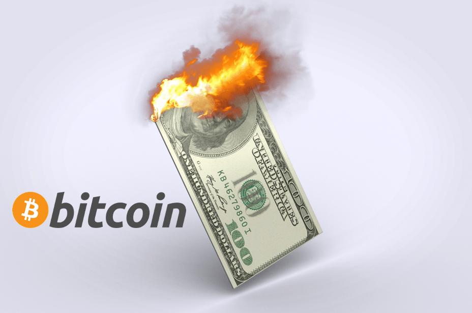 Brennender Dollar und Bitcoin als Zeichen für Inflation