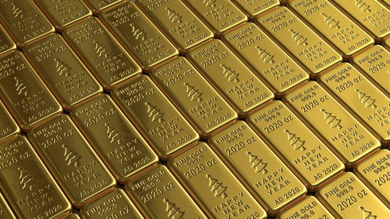 Aneinanderreihung von Goldbarren