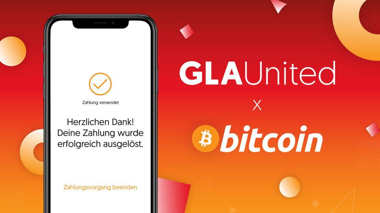 Logo GLA United und Bitcoin