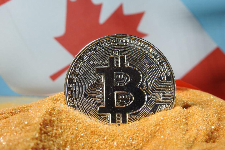 Bitcoin vor kanadischer Flagge