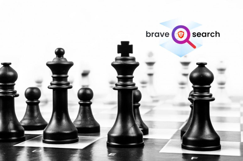 Schachbrett mit Brave Search Logo