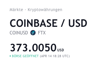 Coinbase-Aktienkurs (Stand 14.4.)
