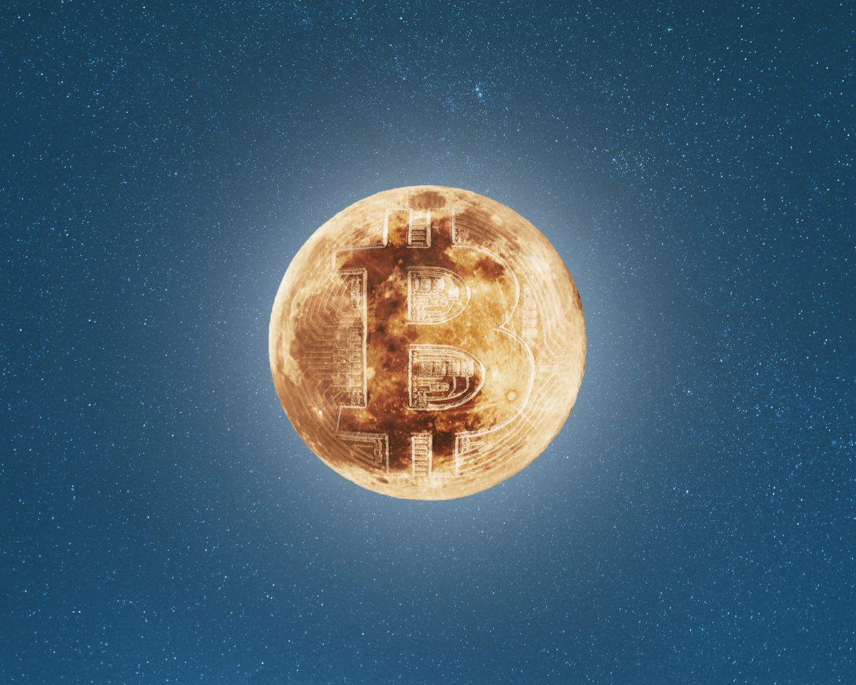 Abbildung eines Mondes mit Bitcoin Symbol