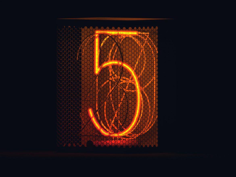 Fünf als Leuchttafel als Synonym für die Gründe des Visa CEO für Kryptowährungen