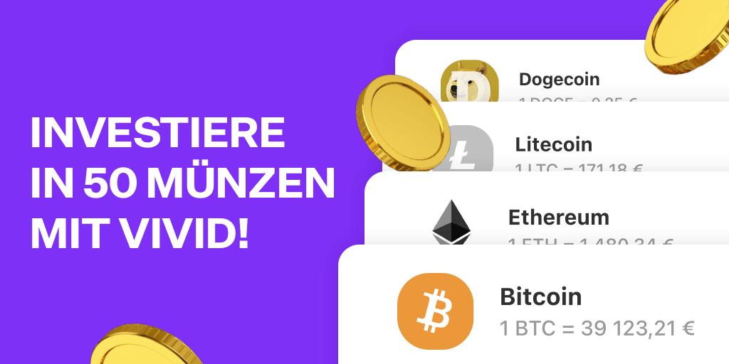 Vivid bietet mit 50 Coins die grösste Krypto-Auswahl Europas unter Banking-Apps