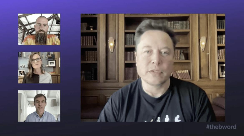 Screenshot von der B-Word-Konferenz mit Musk: Inhalte und Take-Aways (Quelle: Screenshot mit Elon Musk, Jack Dorsey und Cathie Wood