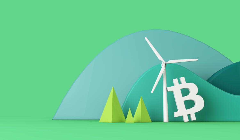 Illustration mit Bitcoin, Winrad und Wald als Bild für den Klimawandel