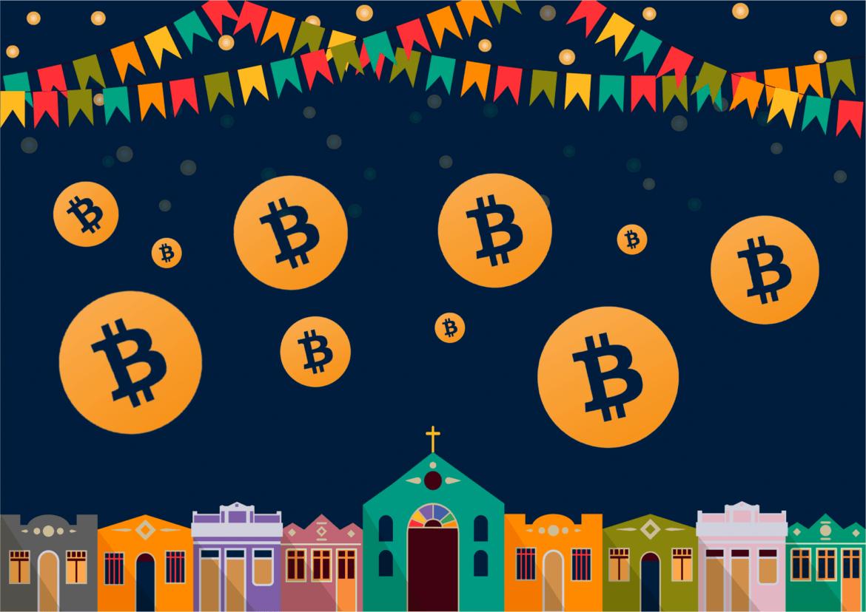 Illustration von einem Dorf in Lateinamerika und Bitcoin-Logos