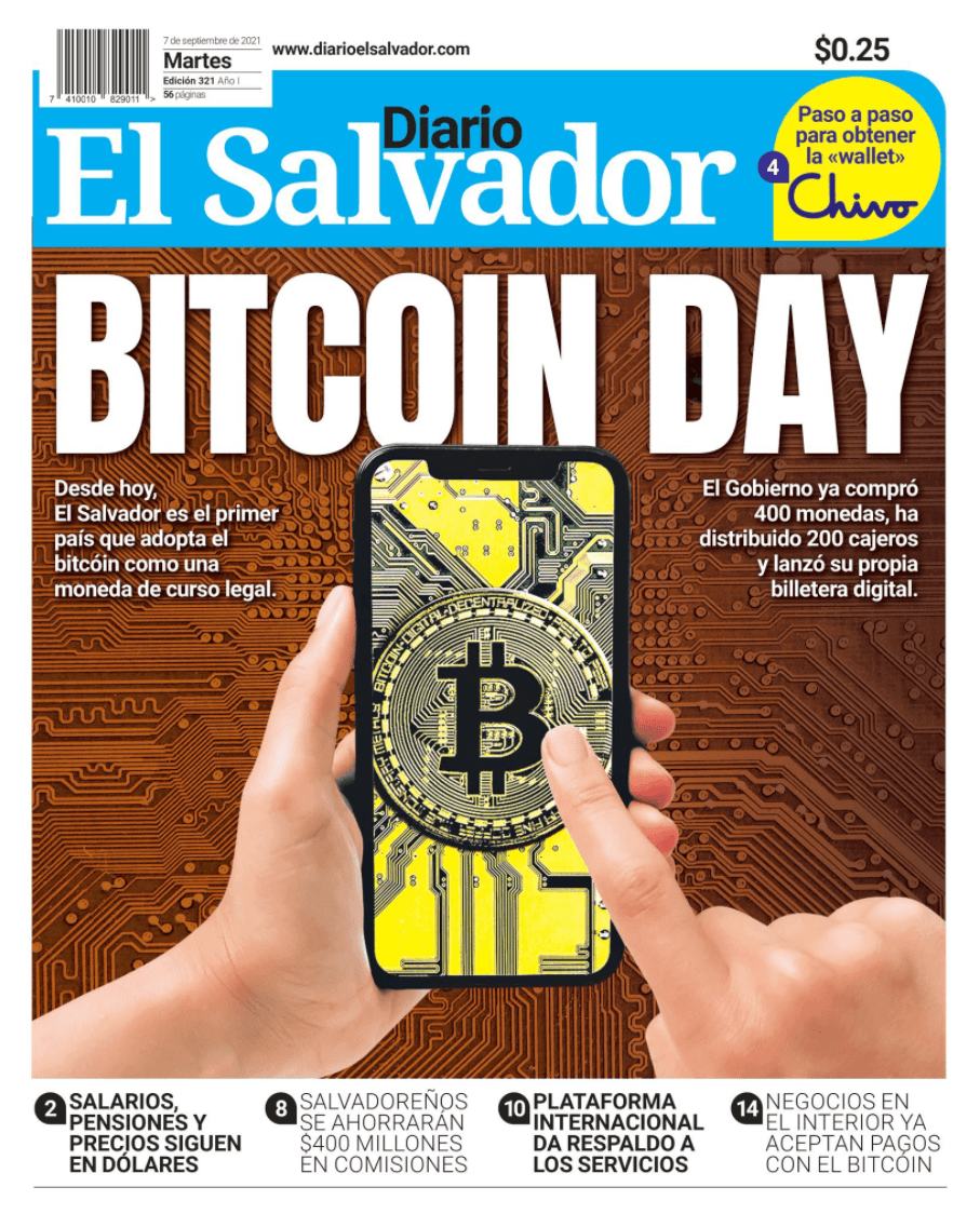 "El Salvador: Tageszeitung ""Diario"" mit Bitcoin Day"