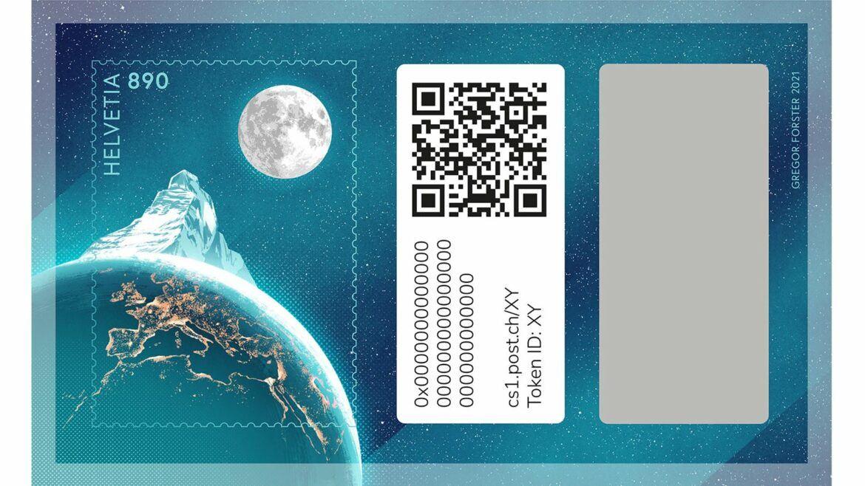 Bild der Krypto-Briefmarke der Schweizer Post